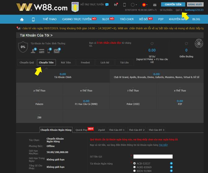 Gửi tiền vào tài khoản nhà cái W88