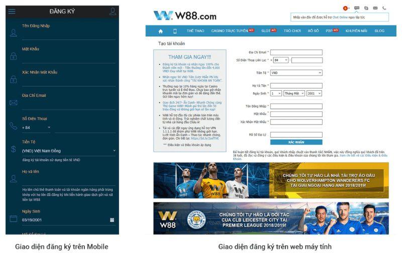 W88 giao diện đăng ký