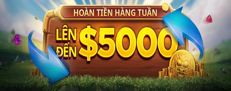 Hỗ trợ thành viên thua cược đến $5,000 hàng tuần